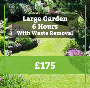 large garden with garden waste removal